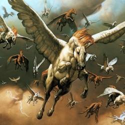 Крылатые кони на картине Марка Зага