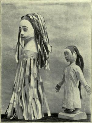 """Фигурки лангсуйар и пенанггалан. Изображение из книги """"Малайская магия"""" (1900)"""