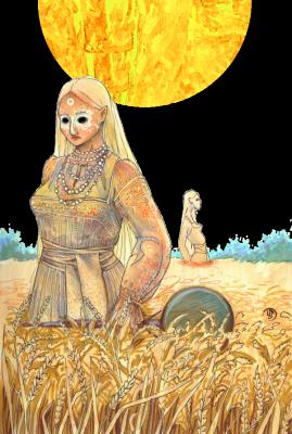 Полудница. Иллюстрация Лидии Магоновой (Ink-Yami)