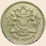 Лев и единорог на британской монете в 1 фунт (1983)