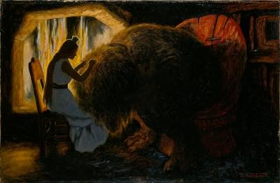 Принцесса вычесывает вшей из шерсти тролля (Der sad Prindsessen og lyskede Troldet). Картина Теодора Киттельсена, 1900