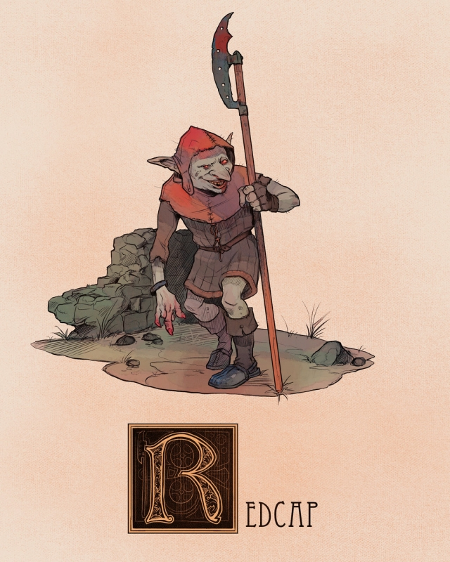 "Гоблин из племени Красных Шапок (Red Cap). Иллюстрация Натана Андерсона (Nathan J. Anderson, ""Deimos-Remus"")"