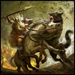 Один против Фенрира — битва во время Рагнарёка. Иллюстрация Мигеля Коимбры