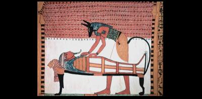 Анубис бальзамирует мумию на спине богини Мафдет (гробница Сеннеджема, XVIII династия)