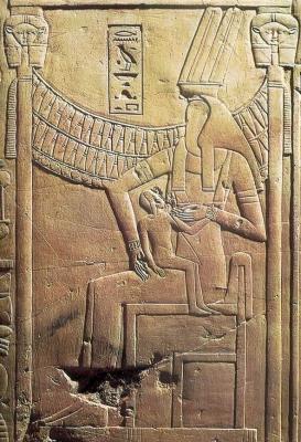 Змееголовая богиня кормит фараона. Фиванский некрополь (Дэйр ель-Медина)
