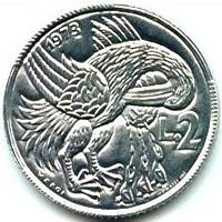 Пеликан на монете Сан-Марино в 2 лиры (1973)