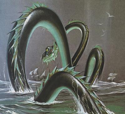 "Морской змей (Sea Serpent). Иллюстрация Ангуса МакБрайда для журнала ""Finding Out"""