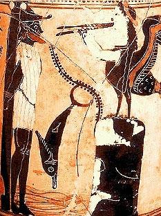 Одиссей и сирена. Чернофигурная керамика, прим.500 г. до н.э.