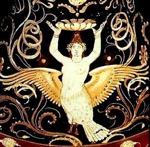 Сирена. Краснофигурная керамика, прим.350-340 гг. до н.э.