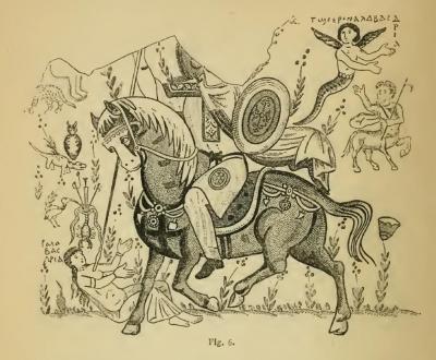 Святой Сисинний поражает демона Алабастрию. Перерисовка фрески из развалин коптского храма в Бауит (Египет)