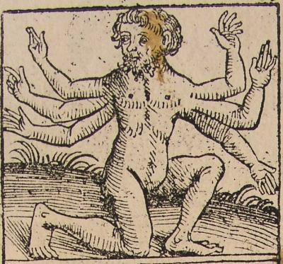 Землерожденный шестирукий гегенс на иллюстрации к нюренбергской хронике 1493 года