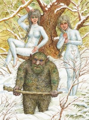 Гаёвый дед и гаёвки. Иллюстрация Валерия Славука