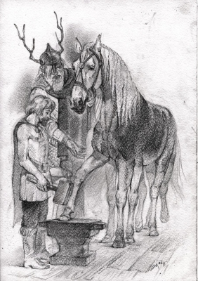 Слейпнир у кузнеца. Рисунок Светланы Игнатовой