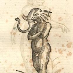 """Слоноглавец. Гравюра из книги Улисса Альдрованди """"История чудовищ"""""""