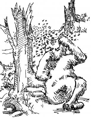 """Кот-расщепенец. Иллюстрация Маргарет Рэмси Трайон из книги """"Устрашающие твари"""""""