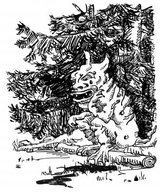 """Сквонк. Иллюстрация Маргарет Рэмси Трайон из книги """"Устрашающие твари"""""""
