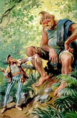 Храбрый портняжка и великан. Иллюстрация Г.Хинке к сказке братьев Гримм