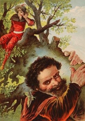 Храбрый портняжка и великан несут дуб. Иллюстрация Карла Оффтердингера к сказке братьев Гримм