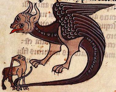 Дракон и слон. Рукопись Британской библиотеки Sloane 278, fol. 57r)