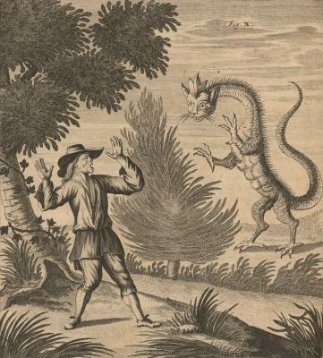 """Альпийский дракон Татцельвурм. Гравюра из книги Иоганна Якова Шейхцера """"Ouresiphoítes helveticus..."""", 1723"""