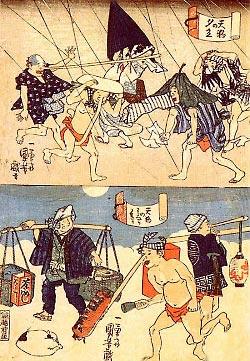 Карикатура на тэнгу. Рисунок Утагава Куниёши
