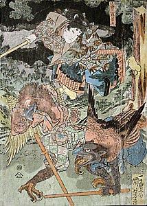 Поединок с тэнгу. Рисунок Утагава Куниёши