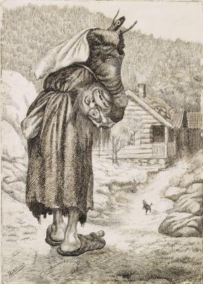 """Троллиха и Пряничек. Иллюстрация Теодора Киттельсена к сказке """"Пряничек"""" (Pannekaken)"""