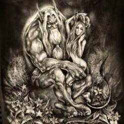 Тролль и Хульдра. Рисунок Светланы Север