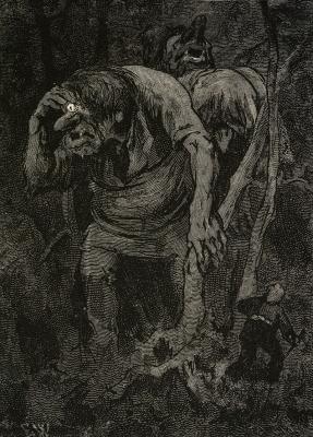Как два мальчика встретили в хедальском лесу троллей. Иллюстрация Эрика Вереншёлля к норвежской сказке (1878)