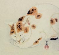 Спящая микэнэко. Автор рисунка Каванабэ Кёсай