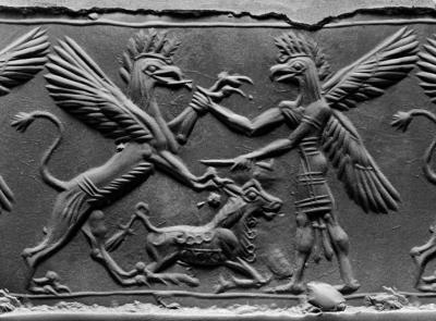 Битва грифона и аннуака. Круглая печать среднеассирийского периода, XII-XI века до н.э.