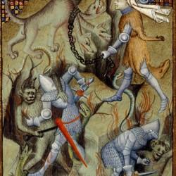 """Фрагмент миниатюры Кристиана де Пизана из """"Книги королевы"""", на которой Геракл поражает Кербера"""