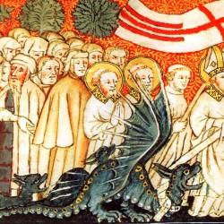 Святой Климент и дракон Граулли. Средневековая иллюстрация