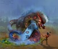Унсегила и Орлиный мальчик. Иллюстрация Марка Вагнера