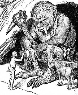 """Орк-огр. Иллюстрация Г.Форда к """"Сказке про орка"""" из """"Серой книги сказок"""" Эндрю Лэнга (1900)"""