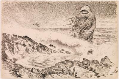 Морской тролль (Sjøtrollet). Рисунок Теодора Киттельсена, 1887