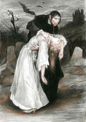 Вампир. Иллюстрация Дениса Гордеева к бестиарию Сапковского