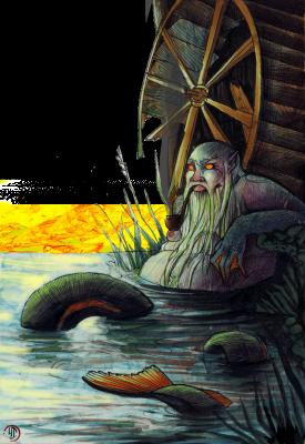 Водяной. Иллюстрация Лидии Магоновой (Ink-Yami)