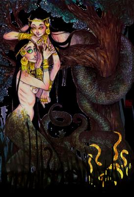 Вужалки. Иллюстрация Лидии Магоновой (Ink-Yami)