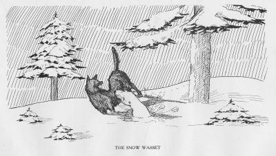 """Снежный вассет. Иллюстрация Кёр Дю Буа из книги """"Устрашающие твари промысловых лесов"""" (1910)"""