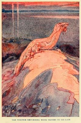 """Воуви возвращается с добычей в свое логово. Иллюстрация Элис Вудвард к книге """"Мифы и легенды австралийских аборигенов"""" (1932)"""