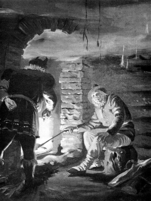 Ванапаган и гуменщик. Иллюстрация Отто Кангиласки
