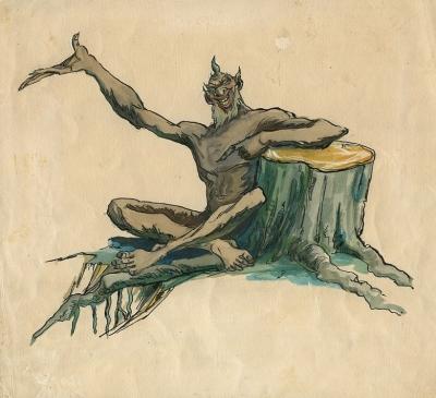 Шурале. Иллюстрация Байназара Альменова к одноименной сказке Габдуллы Тукая