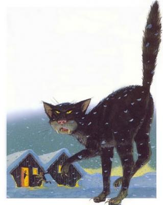 Йольский кот (Jólakötturinn). Иллюстрация Брайана Пилкингтона