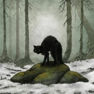 Йольский кот (Jólakötturinn). Иллюстрация Мерле Палк