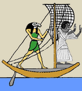 Бог Акен стоит на корме ладьи Месектет