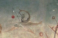 """Фрагмент картины Босха """"Сад земных наслаждений"""" с зириддаром верхом на рыбе"""