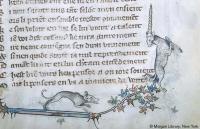 Собака преследует единорога. Рукопись Моргановской библиотеки (MS G.24, fol. 009r.)