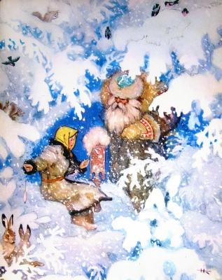 Морозко. Иллюстрация Николая Кочергина