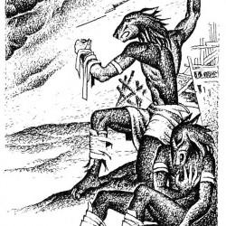 Собакоголовые существа на рисунке А.Печенежского к книгам Г.Л.Олди